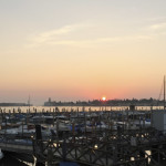 Sunrise in Venice looking at northern lagoon